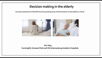 Decision making in the elderly...