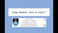 Lung Lessons - less is more...